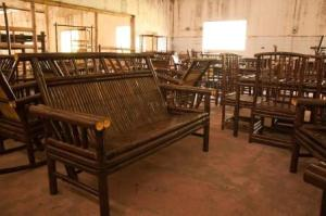 Furniture elaborated with Bamboo in the workshop.