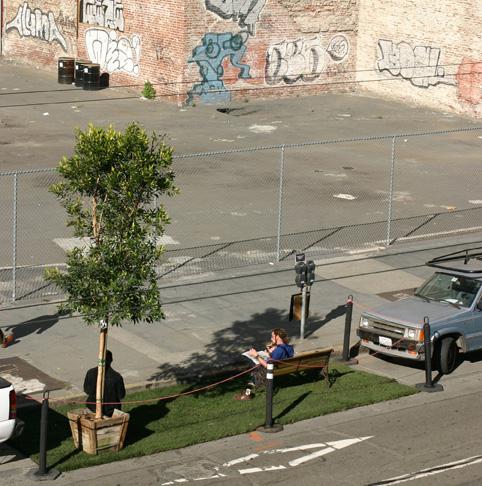 Esta fue la instalación original del proyecto Parque(o) en San Francisco, California. Imagen de Rebar Group.