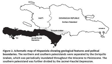 Mapa Hispaniola Paleo Islas