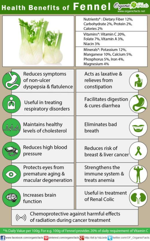 Infographic on Fennel's medicinal properties