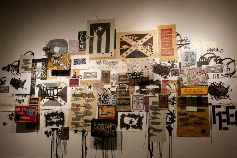 "Muralist Carlos Jesús Martínez Domínguez shows ""Mural"", 2016. Painting-Collage-Instalation, with the collaboration of Pepe Coronado and René de los Santos."
