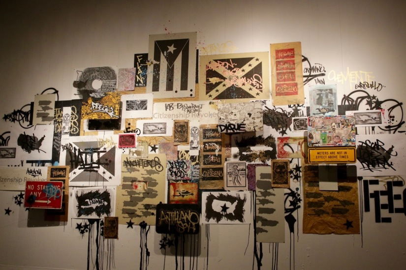 "Muralist Carlos Jesús Martínez Domínguez shows ""Mural"", 2016. Painting-Collage-Instalation, with the collaboration of Pepe Coronado and René de los Santos."