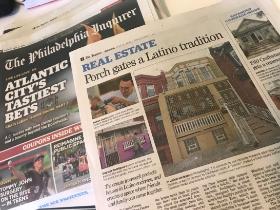The story about porch gates and Latino culture in North Philly is the cover for The Inquirer's Cadillac Real Estate section.